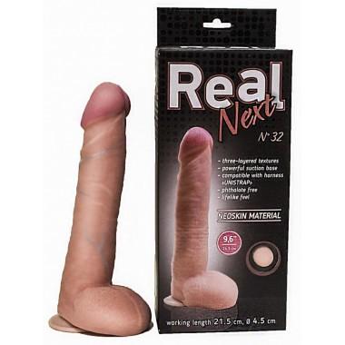 Длинный реалистик на присоске Real Next 9,6'' №32 , вторая кожа (24,5 см , телесный )