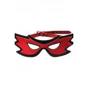 Кожаная маска на глаза (красный с черным)