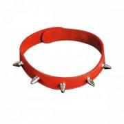 Красный ошейник  с шипами из натуральной кожи (красный)