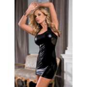Платье c wetlook-эффектом черное