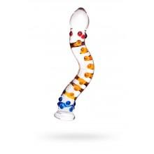 """Фаллос с цветными """"шишечками"""" (18 см , прозрачный с цветными вкраплениями)"""