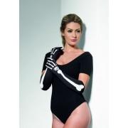 Черные длинные перчатки с изображением костей