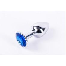Анальная пробка металлическая серебристая с синим кристаллом Onjoy Melal Plug Silver Small
