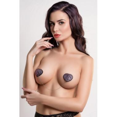Пэстис Erolanta Lingerie Collection в форме сердец со стразами и цепочкой, черно-розовые