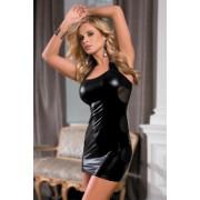 Платье c wetlook-эффектом черное XL (48)