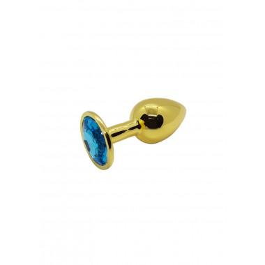 Анальная пробка металлическая золотая с голубым кристаллом Onjoy Metal Plug Gold Small