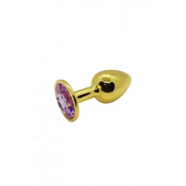Анальная пробка металлическая золотая с светло-розовым кристаллом Onjoy Metal Plug Gold Small
