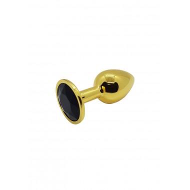 Анальная пробка металлическая золотая с черным кристаллом Onjoy Metal Plug Gold Small