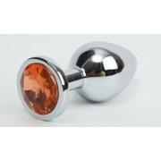 Анальная пробка металлическая серебристая с оранжевым кристаллом Onjoy Metal Plug Silver Small