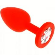 Маленькая красная пробка с позраным кристаллом ONJOY Silicone Collection
