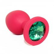 Средняя красная пробка с зеленым кристаллом ONJOY Silicone Collection